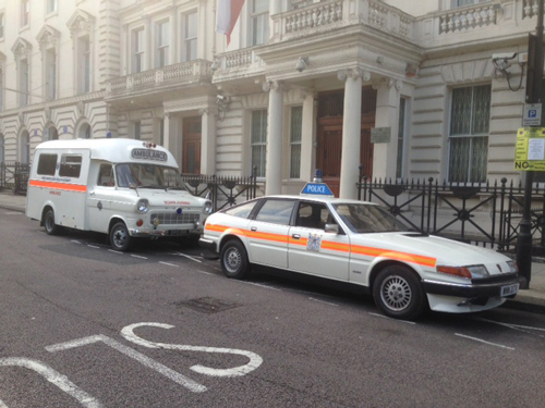 Rover and ambulance on set