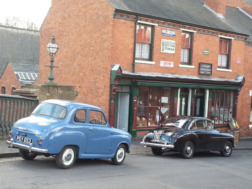 Wolseley and A35 on set
